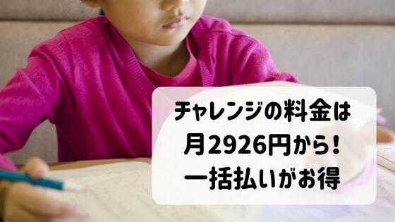 チャレンジ一年生の料金は月2926円から!一括払いがお得です